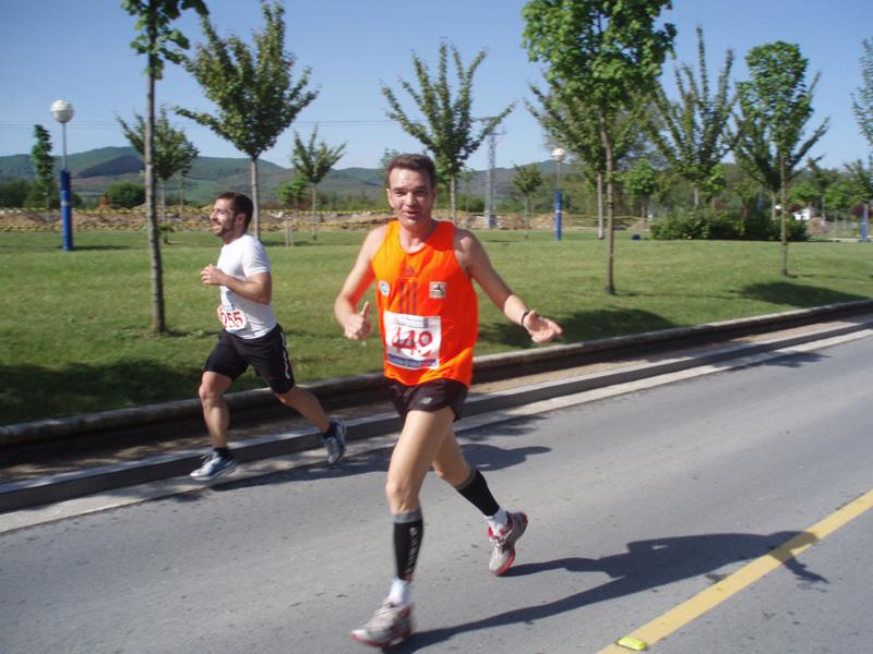 En plena Maratón de Vitoria ante de abandar en km.39
