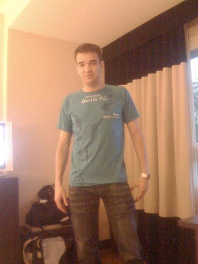 En el Hotel con la camiseta de la maratón